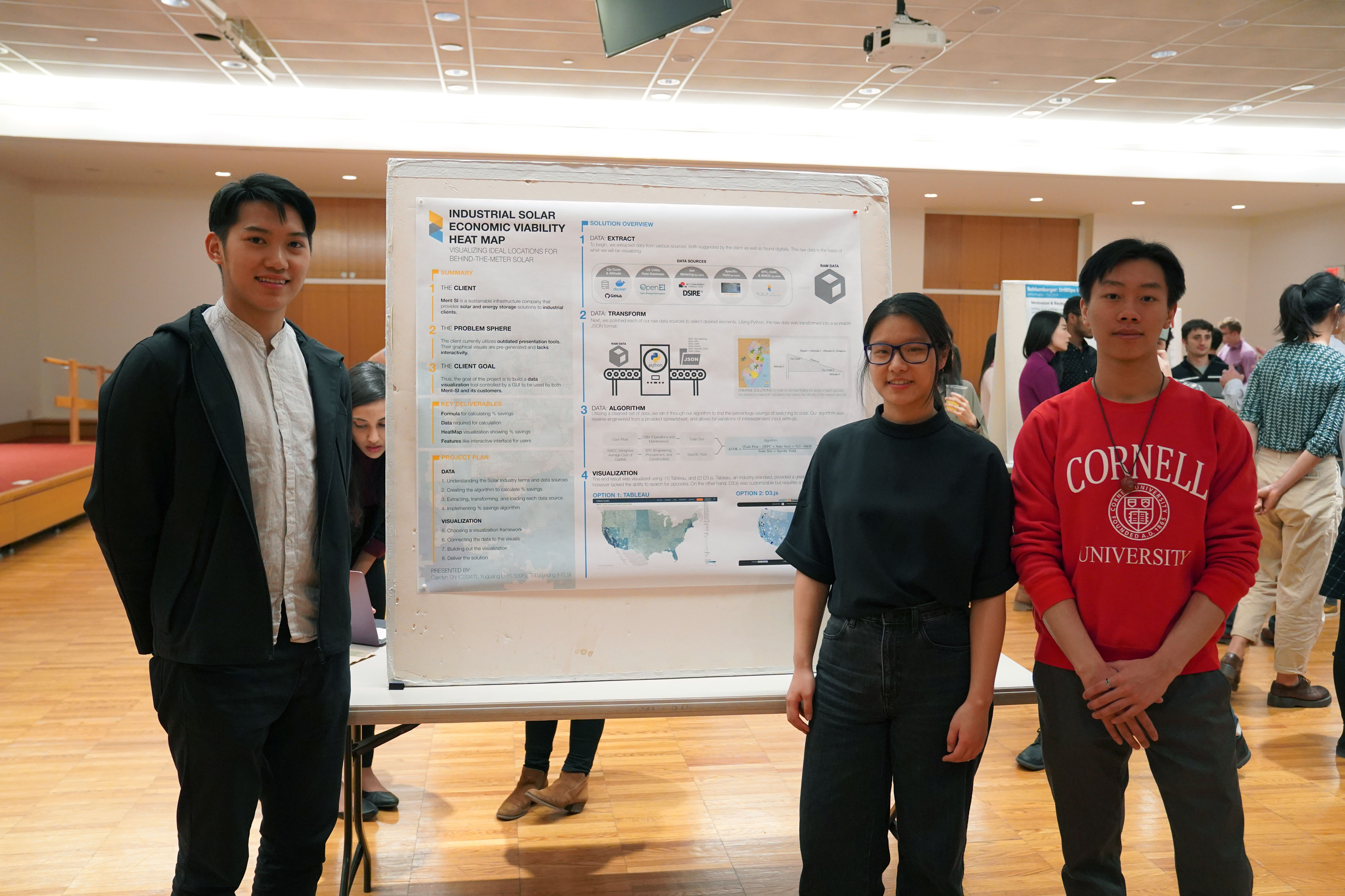 Toby Leung, Carolyn Shi, and Yuguang Li, teamed up to build a data visualization tool for a Texas-based sustainable infrastructure company.