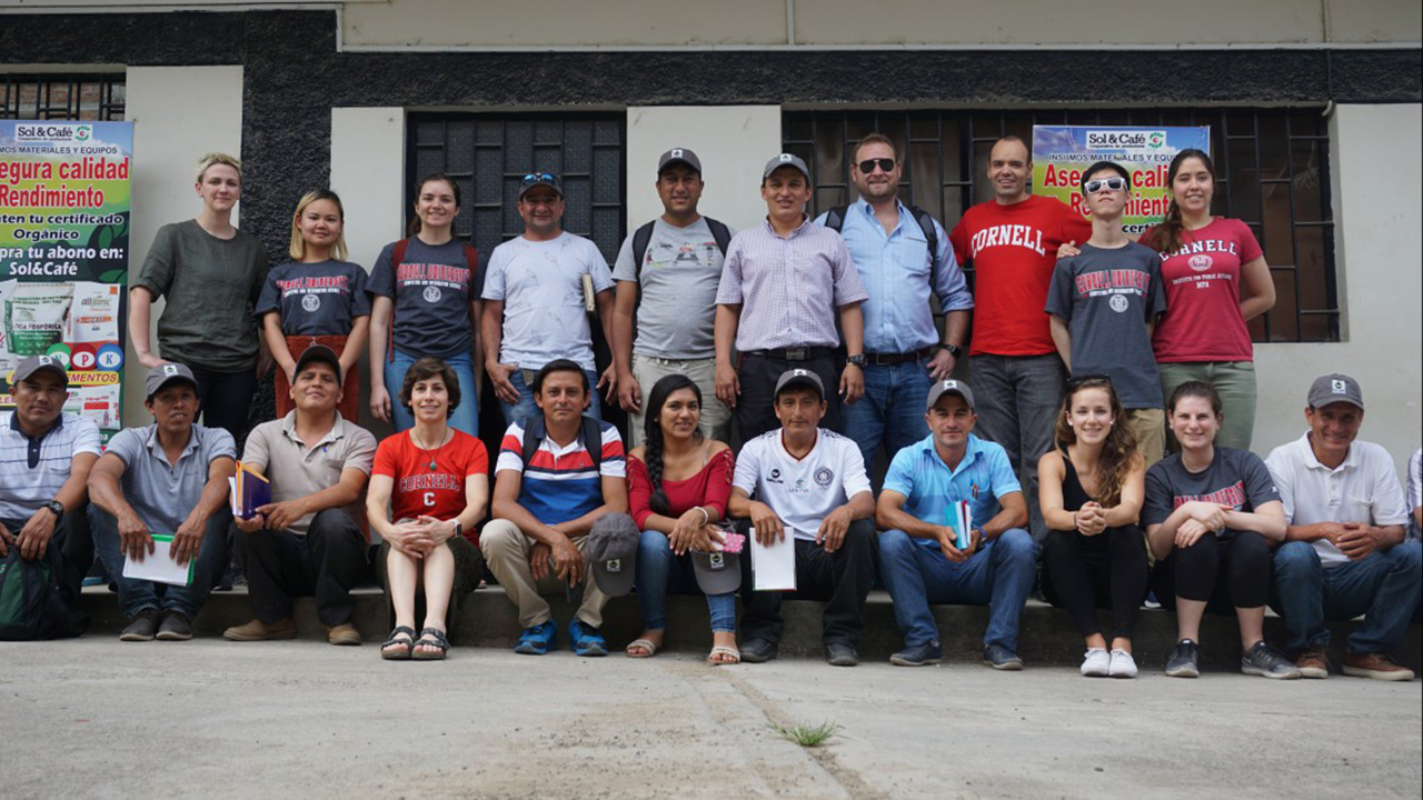 Cornell students, faculty members, Fair Trade USA representatives and coffee growers in Peru.