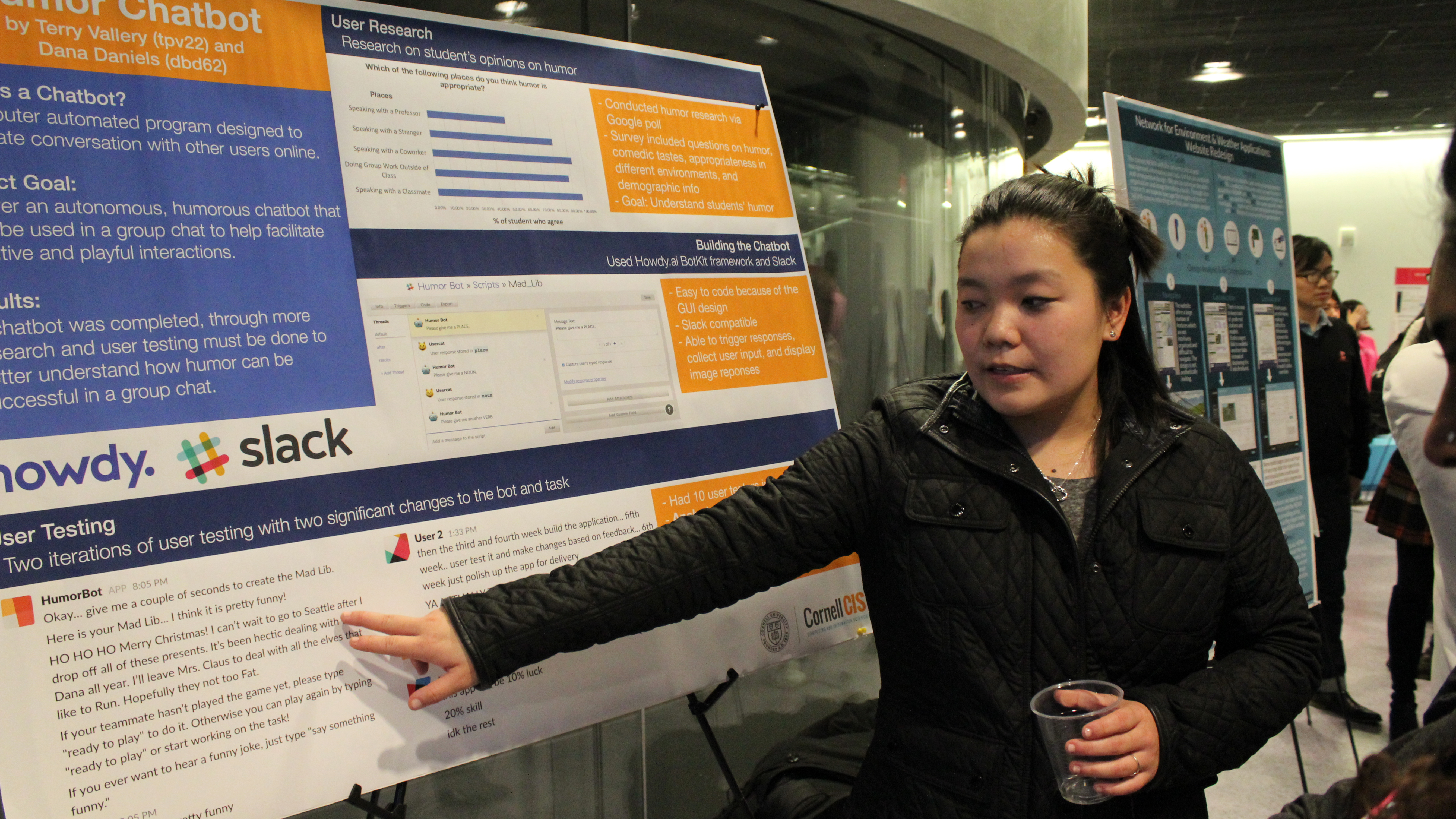 An MPS Info Sci student presents her team's project, done in collaboration with Slack, during the Fall 2017 semester MPS poster session in Gates Hall.