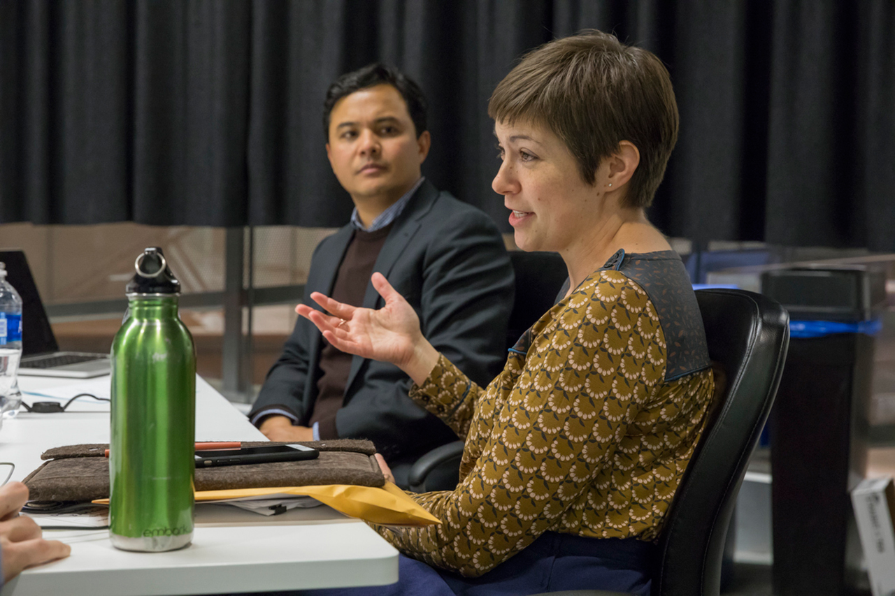 Information Science Assistant Professor Karen Levy and invited speaker, Mark Latonero, during a Tech/Law Colloquium.