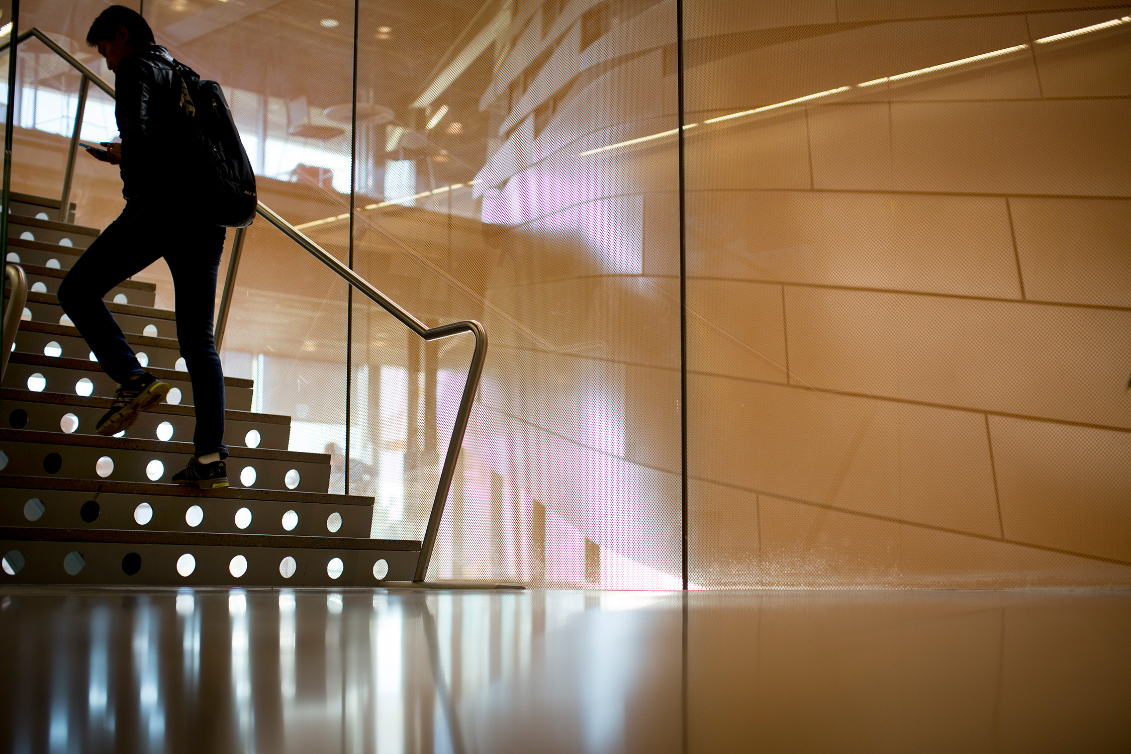 A student makes his way up the Gates Hall stairs.
