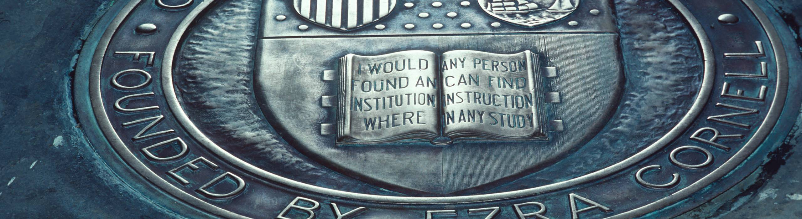 A closeup of the book portion of the Cornell Seal at Myron Taylor Hall.