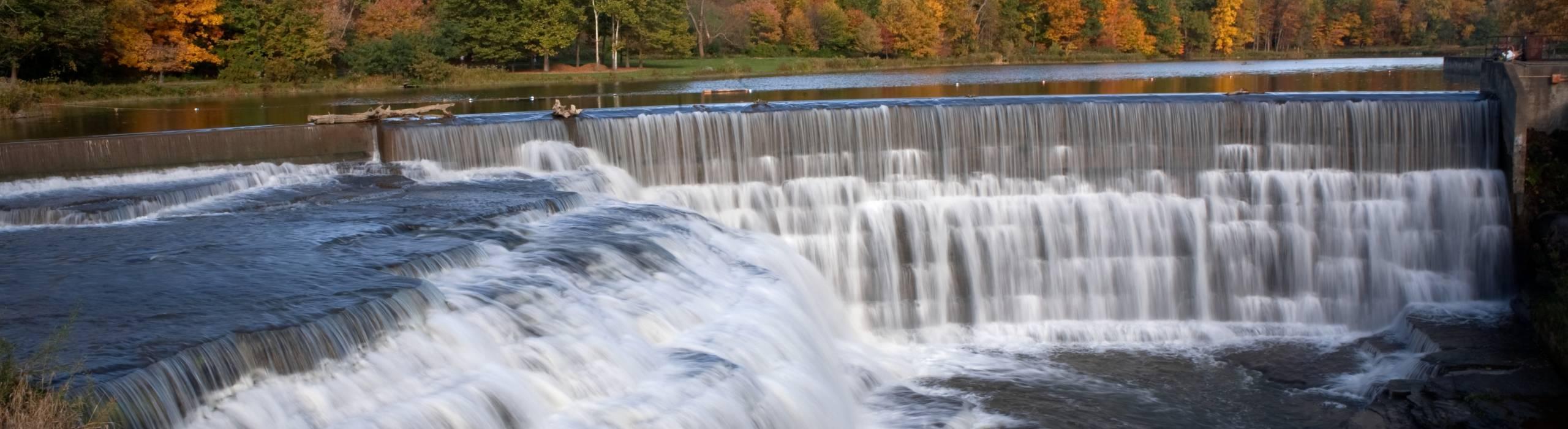 Beebe Lake and Beebe Dam in fall.