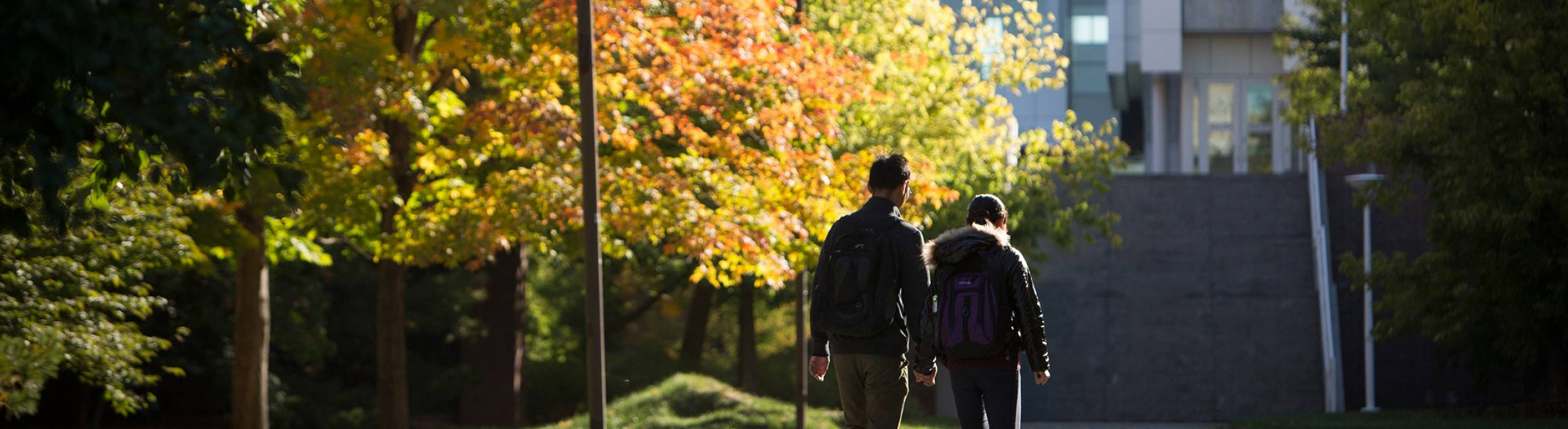 Students on the Engineering Quadrangle in fall.