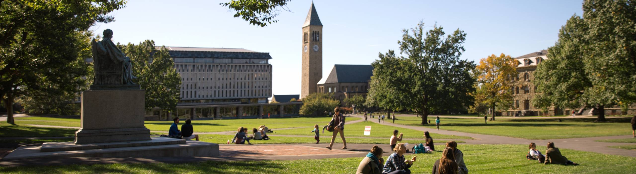 Students on the Arts Quad in fall.