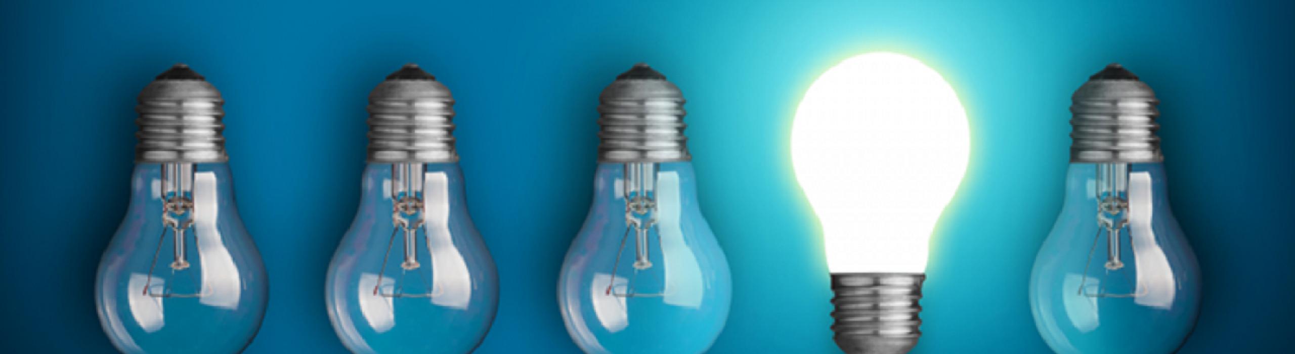 lighted lightbulb