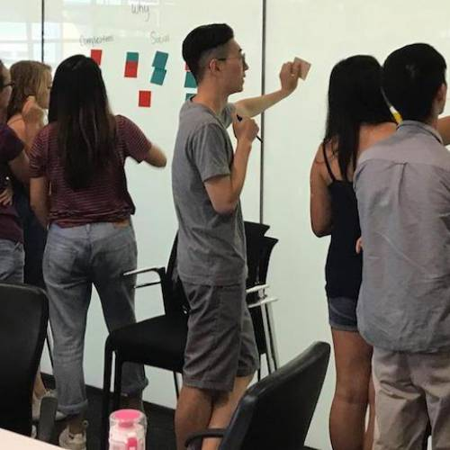 Students in the Cornell Design and Tech Initiative brainstorm a work-in-progress.