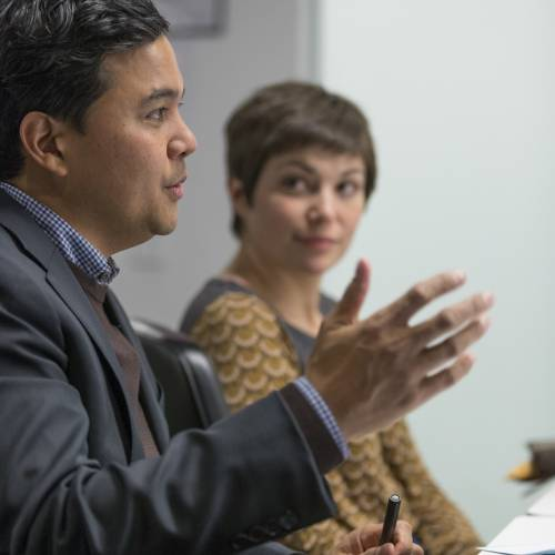 Mark Latonero of Data & Society leads a discussion in the Tech/Law Colloquium