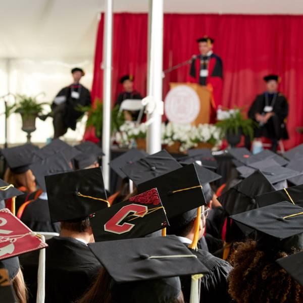 2017 Info Sci graduates await their degrees.